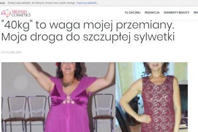 """""""40kg"""" to waga mojej przemiany artykuł na TrustedCosmetics.pl"""